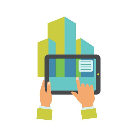 Multicolored flat icon of human hands holding tablet showing augmented reality